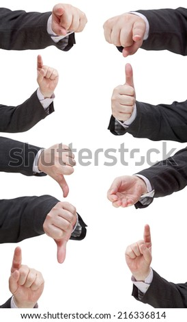 set of businessman finger sign - hand gesture isolated on white background - stock photo