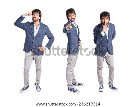 Set of Businessman pointing to the front over white background