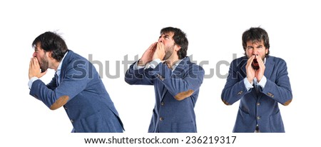 Set of Businessman shouting over isolated white background