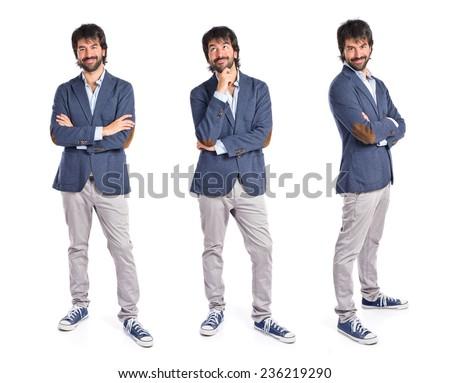 Set of Businessman thinking over isolated white background - stock photo