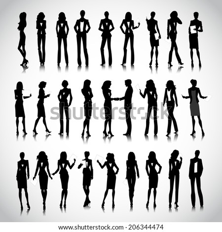 Set of businesswoman silhouettes on the background - stock photo