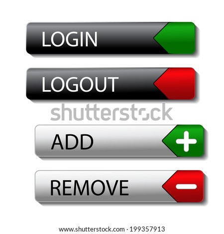 set of buttons - login, logout, add, remove