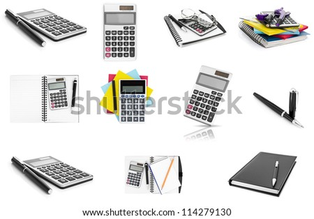 Set of calculator, notebook and pen isolated on white background. Collection of business object. concept - stock photo