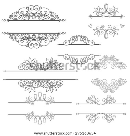 Set of Calligraphic Design Elements and Page Decorations. Collection of Design Elements in Linear Style - stock photo