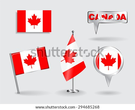 Set of Canadian pin, icon and map pointer flags. Raster version - stock photo
