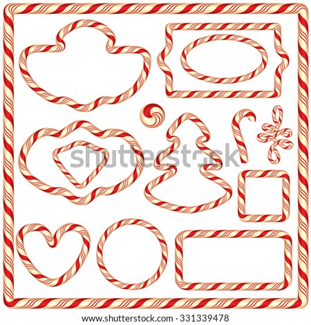 Set of Candy frames and borders, elements for winter holidays design, isolated on white background.  Merry Christmas and Happy New Year theme. Raster version - stock photo