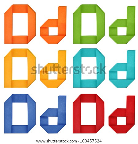 """Set of capital letter and lowercase letter """"D"""" in various color. Origami alphabet  letter  on white background. - stock photo"""