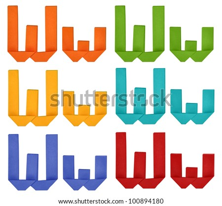 "Set of capital letter and lowercase letter ""W"" in various color. Origami alphabet  letter  on white background. - stock photo"