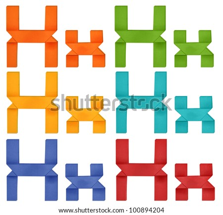 """Set of capital letter and lowercase letter """"X"""" in various color. Origami alphabet  letter  on white background. - stock photo"""