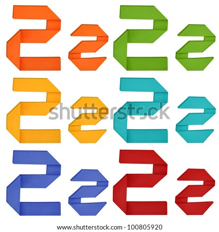 """Set of capital letter and lowercase letter """"Z"""" in various color. Origami alphabet  letter  on white background. - stock photo"""