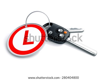 Set of car keys with a Learner driver symbol on the keyring. Concept for learning to drive, driver training, driver education.