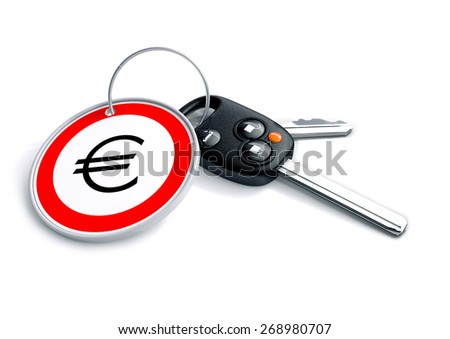 Set of car keys with keyring and Euro currency symbol. Concept for Europe car prices, buyer or selling a vehicle in the Europe.