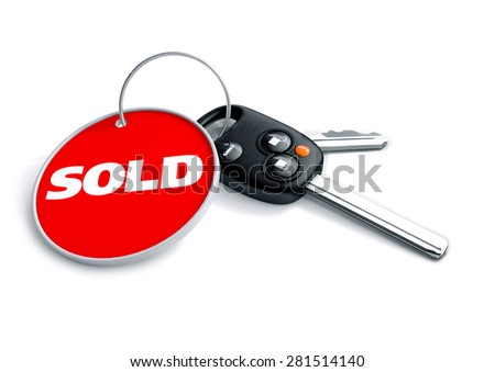 Set of car keys with keyring and retail 'For Sale' title. Great illustration for a car dealer, retailer or car dealership. Anyone selling a car.