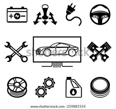 Set of car maintenance or service icons. Inspection and oil, wheel and tire change