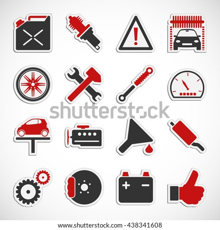 Set of car service icons over white background - Illustration