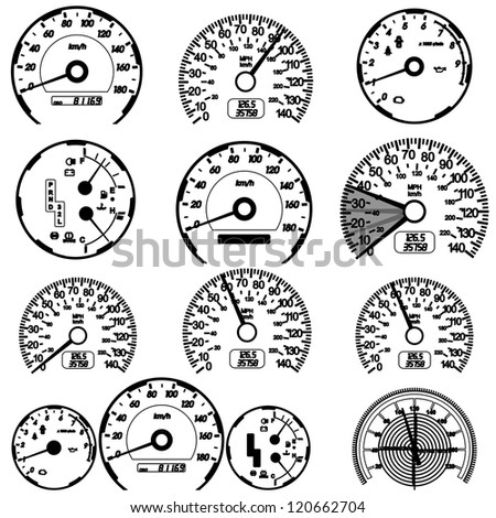 Set of car speedometers for racing design.  illustration