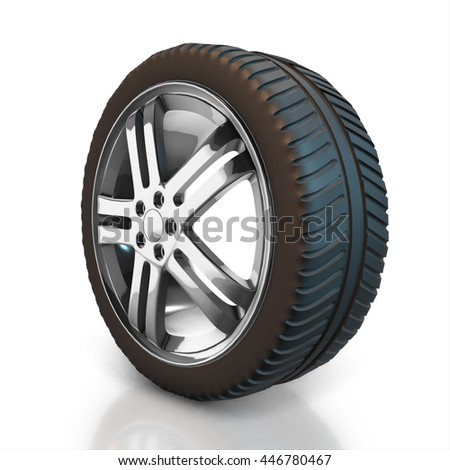Set of car wheels and gold bullion isolated on a white background. 3d render