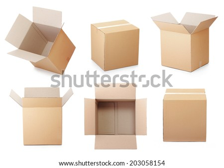 set of cardboard box isolated on a white background - stock photo