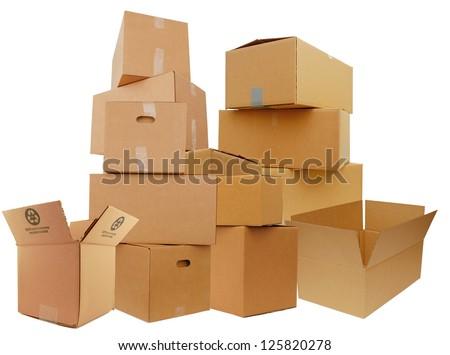 Set of cardboard boxes, isolated white background - stock photo