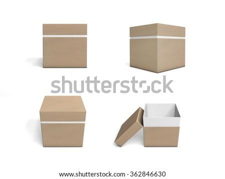 set cardboard boxes template packaging design stock illustration