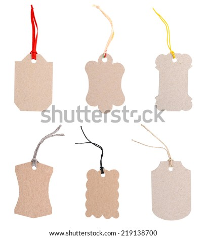 set of Cardboard tags in blank - stock photo