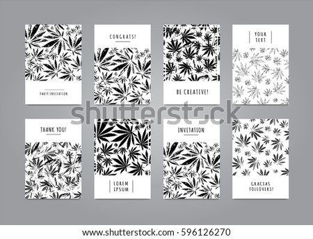 Elegant set of cards with pattern of marijuana leaves for for Placard interieur cannabis