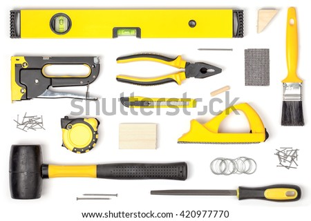 carpenter tools name. set of carpentry tools on white background top view. carpenter working table. and name