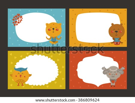 Set of cartoon animal borders, zoo frame with cat, bear, owl and merinos. Cute baby animals in love, kids frame, template for baby photo - stock photo
