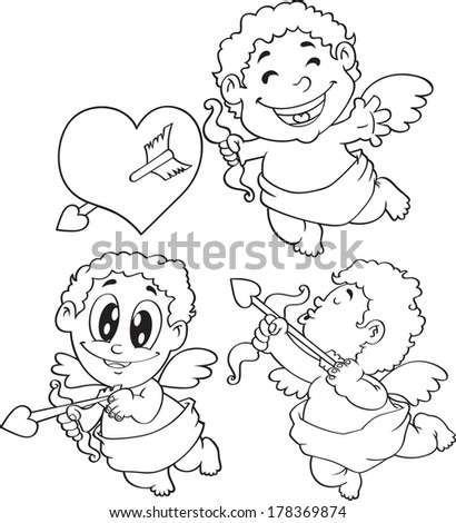 set of cartoon cupid