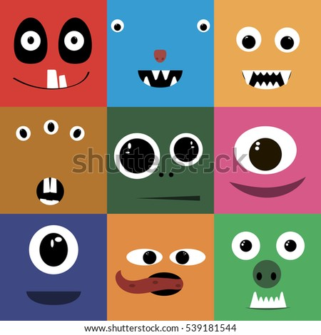 Set of cartoon cute character Monsters.  flat illustration.