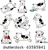 Set of cartoon dogs - stock photo