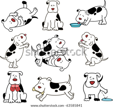 Set of cartoon dogs - stock photo
