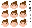 Set of cartoon face emotions - stock vector