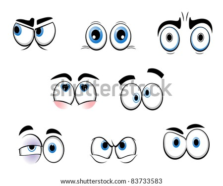 Set of cartoon funny eyes for comics design, such a logo. Vector version also available in gallery - stock photo