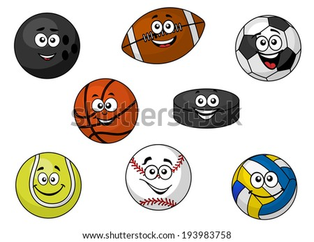 Set of cartoon happy sporting balls and equipment with tennis, soccer, rugby, football, cricket, volleyball and an ice hockey puck. Vector version also available in gallery - stock photo