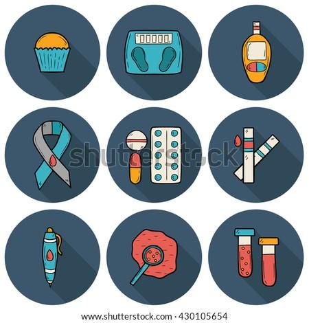 Set of cartoon icons on diabetes theme in hand drawn style - stock photo