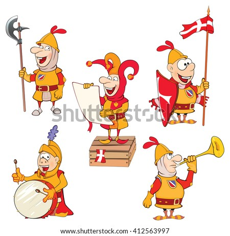 Set of Cartoon Illustration Cute Knights for you Design