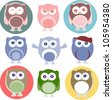 Set of cartoon owls with various emotions. Raster - stock vector