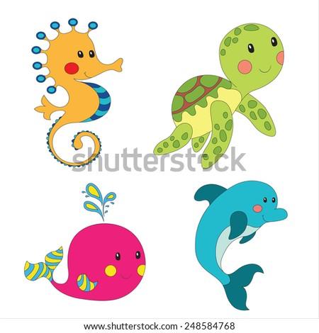 Set of cartoon sea creatures isolated on white.  - stock photo