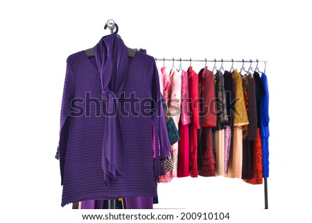 Set of casual Colorful different autumn/winter fashion clothing on hanging