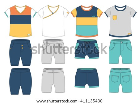 set of casual t-shirt and pants cutting design - stock photo