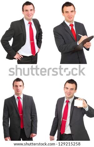 Set of caucasian  businessman on white. Isolated. - stock photo