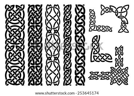 Set of celtic patterns and celtic ornament corners in black - stock photo