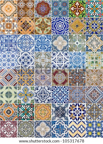 Set of 48 ceramic tiles patterns from Portugal. - stock photo