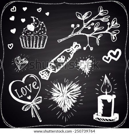 Set of chalk painted elements: hearts, candle, candies and plant. - stock photo