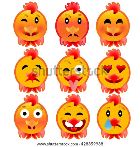 Set of cheerful cock emotions. Icons to the fire, the rooster. Raster illustration - stock photo
