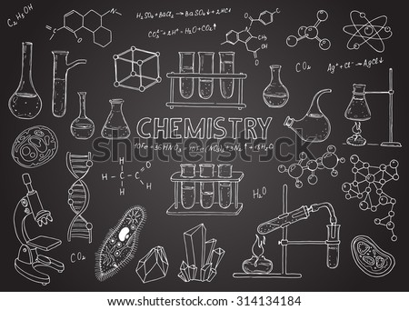 Set of chemical equipment. Hand drawing icons. Vintage background. Linear illustration.  Back to School. Chemistry.  - stock photo