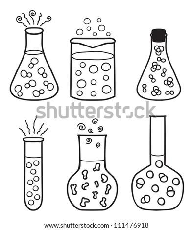Set of chemical test tubes - hand drawn illustration - stock photo