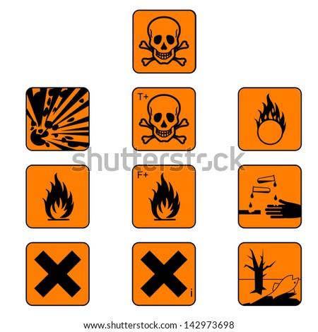 Set of chemicals hazard symbols isolated on white - stock photo