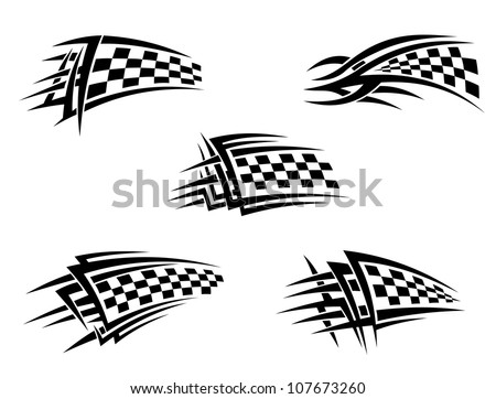 Set of chequer racing flags in tribal style, such a logo. Vector version also available in gallery - stock photo